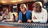 Sound engineer Michael B Tretow with Benny and Björn in the Polar Music Studio.