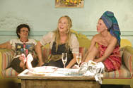 Julie Walters, Meryl Streep and Christine Baranski share a light moment in Mamma Mia!
