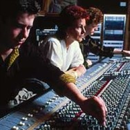Frida recording her Shine album with producer Steve Lillywhite (left) in 1984.